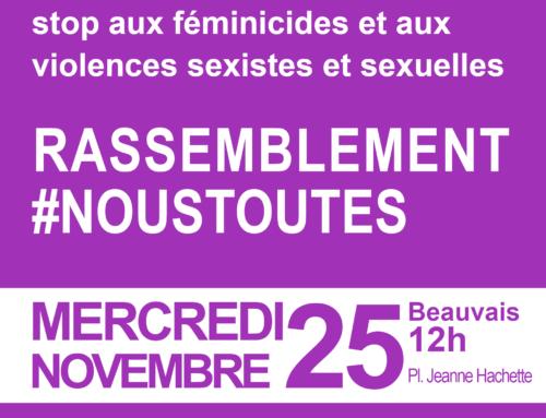 Mobilisation contre les violences faites aux femmes : rassemblement à Beauvais mercredi 25 novembre 12h00